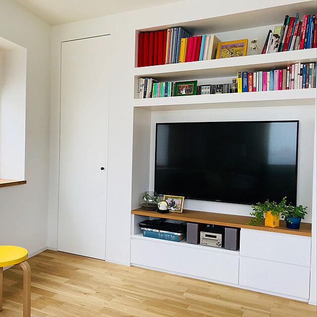My Shelf,壁掛けテレビ,造作棚,無垢フローリング,観葉植物,stool60 aggieの部屋