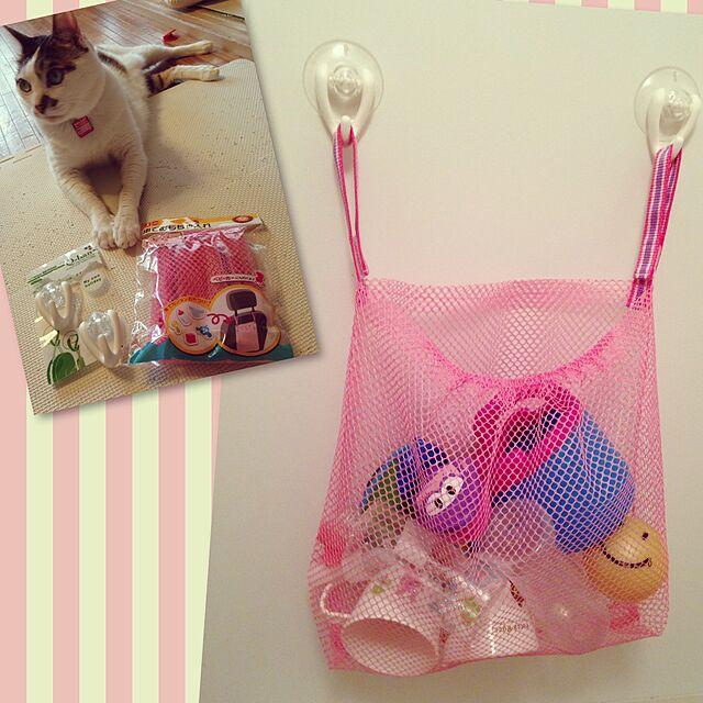Bathroom,ピンク パープル,お風呂収納,お風呂 おもちゃ,セリア,100均,ピンク,こどものもの,100円SHOP,フック収納,フック Sakiの部屋