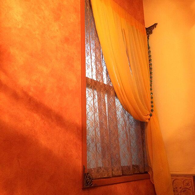 On Walls,手作りカーテン,アイアン装飾,デコ窓,YKKap,セルフペイント himenekoの部屋