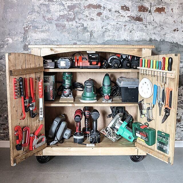 My Shelf,工具収納,DIY,新作,Y.P.K. WORKS,インダストリアル,Rustic,男前インテリア,DIY家具,キャビネット,Bosch,makita,電動工具 yupinokoの部屋