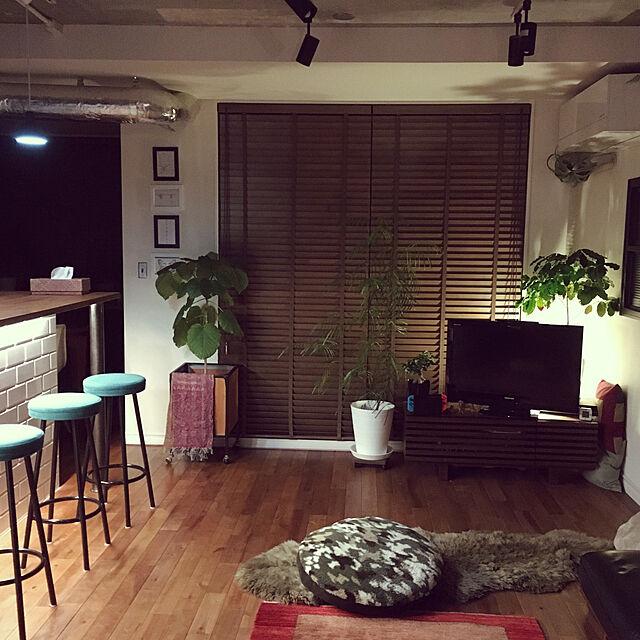 Lounge,Philips Hueライトリボンプラス,ムートンラグ,カウンター,間接照明,NO GREEN NO LIFE,木製ブラインド,ルイスポールセン,niko and…,カウンターチェア,ギャッベ,サブウェイタイル,スポットライト kan2の部屋