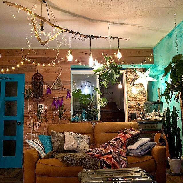 エジソン電球,星型ライト,ブルー,流木,LED照明,間接照明,ハンドメイド,DIY,ドリームキャッチャー自作,セルフリフォーム,板壁DIY,セルフリノベーション,海外風,エスニック,Lounge,ボヘミアン tarezo33の部屋