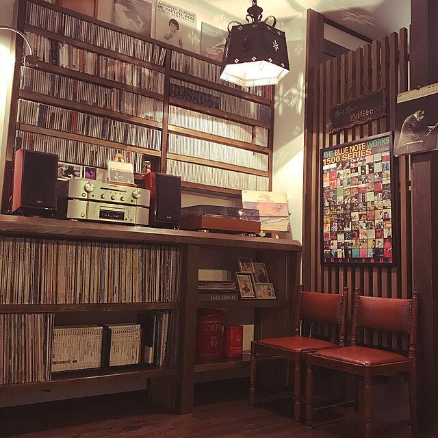 Lounge,レトロ,レコード棚,造作棚,ジャズ好きの夫,ジャズ,CD棚,ブラウン,椅子は50年もの,イベント参加 rainbowlotusの部屋