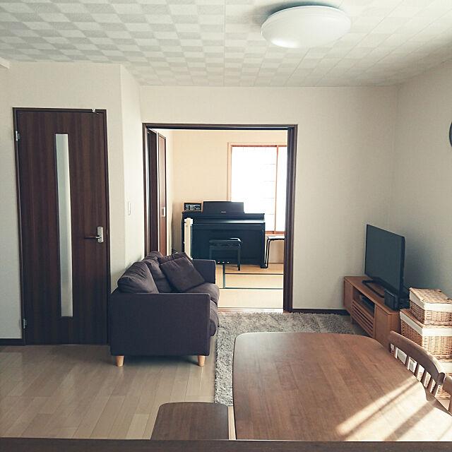 Overview,いつもいいねありがとうございます♡,狭い家,建売住宅,10000人の暮らし,すっきり暮らしたい,家族だんらんスペース,ピアノのある風景,電子ピアノ,ニトリ,ニトリのソファー,狭いけど諦めない! manamamの部屋
