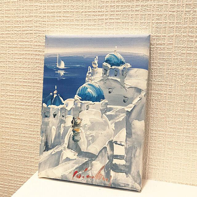 サントリーニ島,ギリシャ,油絵,Bathroom mizuの部屋