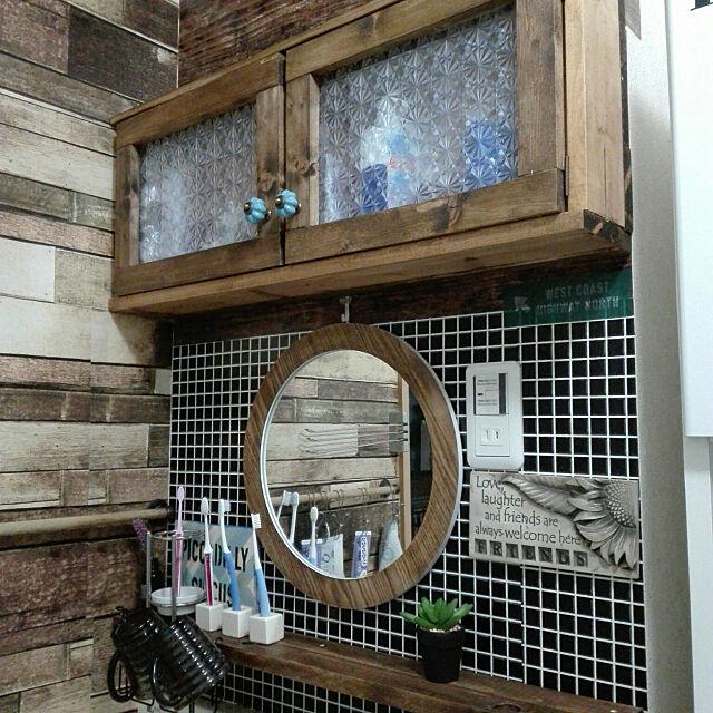 Bathroom,DIY,セリア壁紙,ニトリの鏡,いつもいいねやコメありがとうございます♡ ak68の部屋
