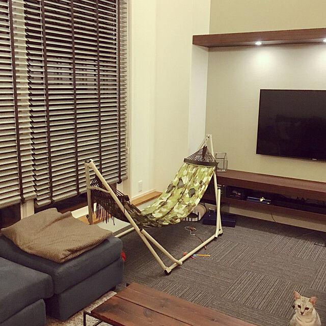 Lounge,生活感が出てきた。,ハンモックライフ,ハンモックのある暮らし,新築住宅,新築マイホーム,吹き抜けリビング,間接照明,注文住宅,猫のいる生活,ねこ♡ pepperの部屋