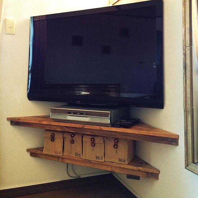 テレビ台,DIY,壁掛けテレビ,狭いリビング,セリア,Lounge,詳細はブログにて,収納棚DIY takoの部屋