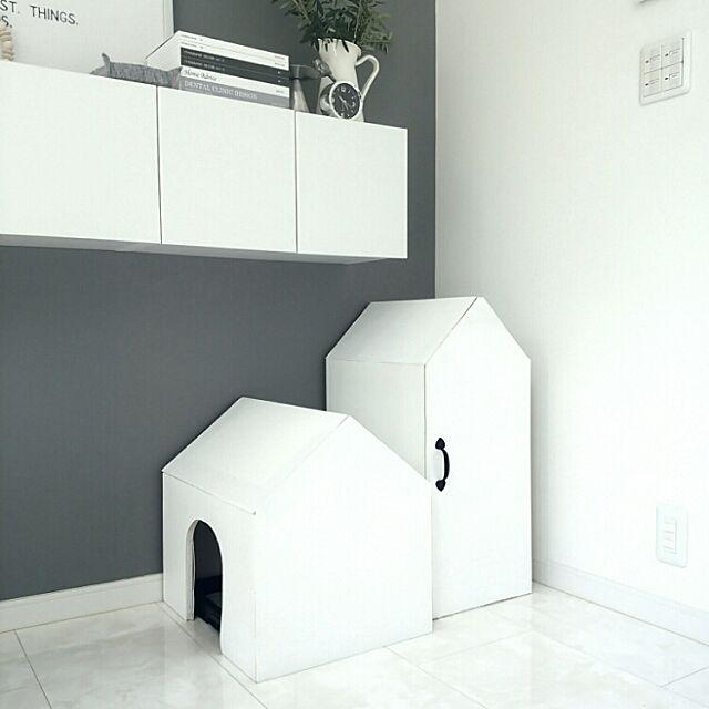 Lounge,ハンドメイド,犬,犬トイレ,DIY,お家型,収納,グレー,モノトーン,アクセントクロス,雑誌重なってる風ボックス mi-の部屋