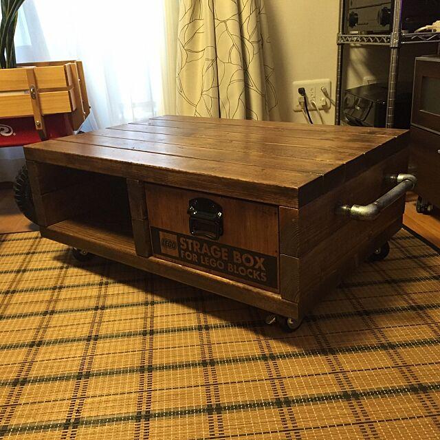 My Desk,ローテーブル,連投失礼します,ボックス収納,男前,DIY,レゴ収納,いいね&フォローありがとうございます☆,ローテーブルDIY ichiの部屋