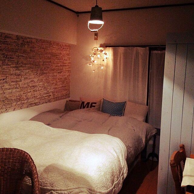 Bedroom,壁紙屋本舗,板壁DIY,RC九州支部,しゃれとんしゃあ会,連投失礼します★,可愛いものも好き,ニトリのリネン布団カバー,改造します♪ neigeの部屋