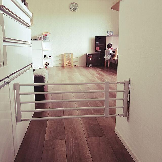 Kitchen,突っ張り棒活用,ベビーガードの代わり,コの字キッチン,ニトリ,食器棚 nao.22の部屋