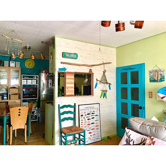 Lounge,海外インテリア,海を感じるインテリア,セルフリノベーション,LDK,モビール,青い壁,青いドア,ターコイズの輝き,山善,キッチンすっきりラック,モニター品,DIY,ドリームキャッチャー自作,流木,ハンドメイド,ポスター,リフォライフ,シーグラス tarezo33の部屋