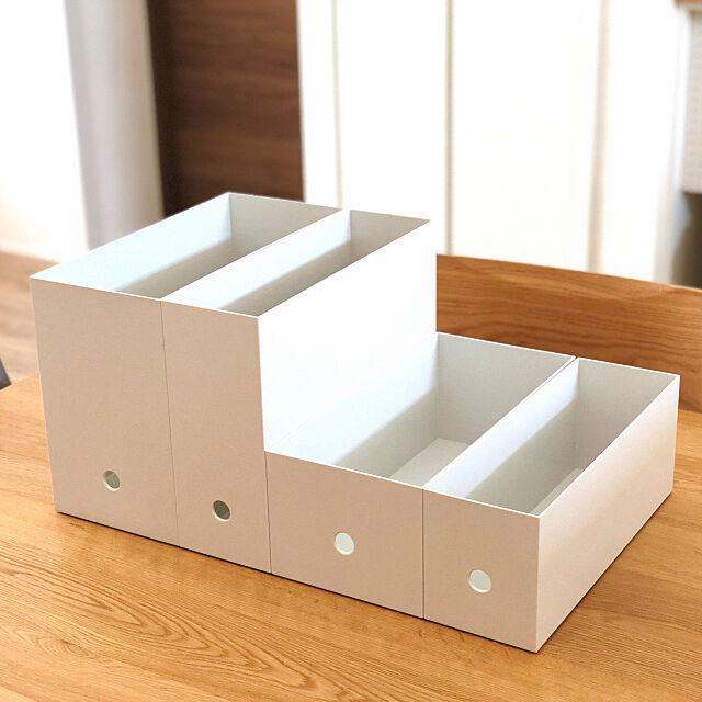My Desk,ホワイトグレー,ファイルボックス,新商品買ったよ!,収納,無印良品,ブログ更新しました,シンプルインテリア usaco.の部屋