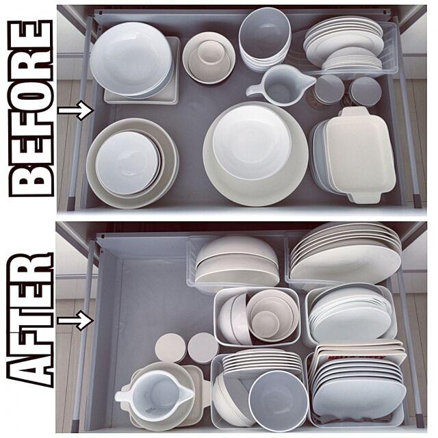 Kitchen,シンク下収納,食器棚収納,食器棚 ,整理整頓,White M-SMile39の部屋