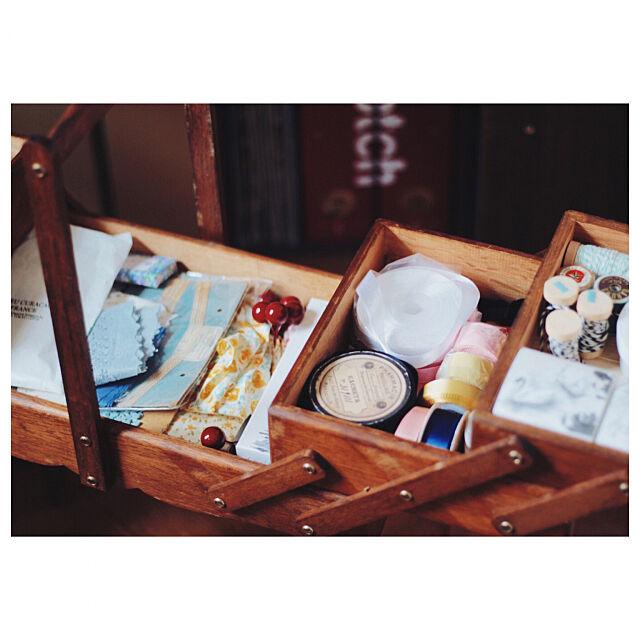 My Desk,お気に入り,裁縫道具箱,アトリエ,裁縫箱,ソーイングボックス,アンティーク kateの部屋