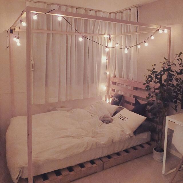 Bedroom,DIY,海外インテリアに憧れる,北欧ナチュラル,ベッド,シンプルインテリア,寝室,パレット,パレットベッド,ホワイトインテリア kanakoの部屋