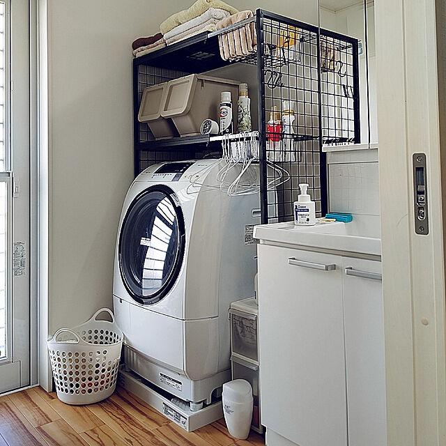 Bathroom,平屋,ランドリーラック,洗面脱衣室,白,白でスッキリ,生活感丸出し,カインズホーム mimimoの部屋