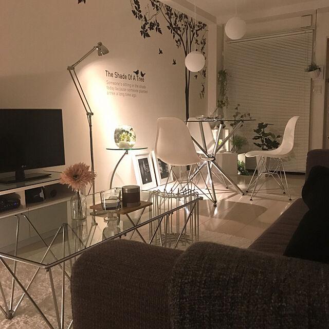 Lounge,イームズチェア(リプロダクト),モノトーン,ホワイトインテリア,1R/1K,一人暮らし,ワンルーム,ウォールステッカー SnSの部屋