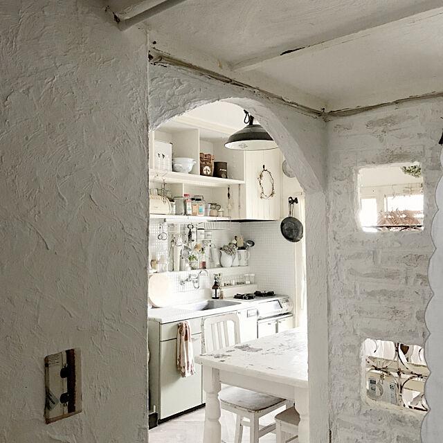 Entrance,インスタ→voyage.maki,ホワイトが好き,ホワイトシャビー,団地リノベーション,漆喰アーチ,洋書の1ページに憧れて,DIY,natural,手作り voyage.makiの部屋