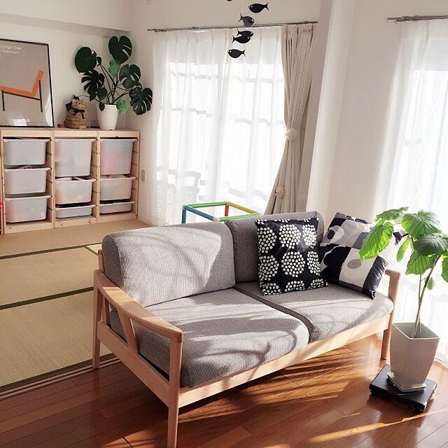 Lounge,収納,こどもと暮らす。,トロファスト,リサラーソン,和室,クッション,マリメッコ,ソファ,アルテック,モンステラ,ウンベラータ,ナチュラル,北欧,IKEA,持たない暮らし,賃貸,ミニマリスト,ミニマリストに憧れて yuusの部屋
