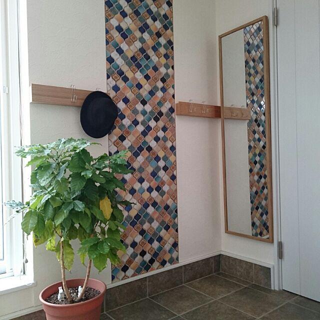 On Walls,買ってよかったモノ,土間,コラベル,名古屋モザイクタイル,ニトリ,無印良品,壁につけられる家具,長押,横ブレしにくいS字フック,コーヒーの木 noonoの部屋