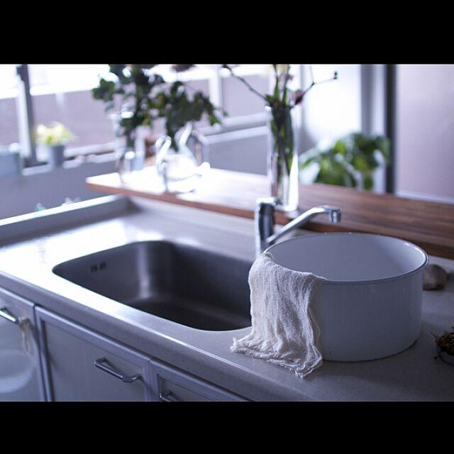 びわこふきん,野田琺瑯洗い桶,Kitchen,丁寧な暮らしがしたい,水切りカゴなし生活 hamakajiの部屋