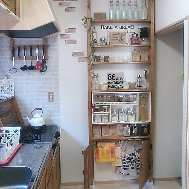 Kitchen,収納アイデア,賃貸,1K,一人暮らし,DIY,ディアウォール,スパイスラック,キッチン雑貨,キッチンツール掛け,ゴミ袋収納,セリア,ダイソー,キッチン大改造計画中! Ryoの部屋