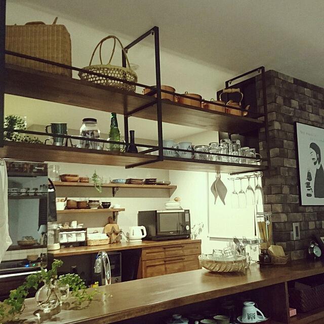 Kitchen,見せる収納,造作棚,竹かご,銅鍋,吊り棚,造作キッチン,造作キッチンカウンター,Panasonic,レンガ風壁紙,薄暗いのが好き,和も洋も好き,ニトリ,無印良品,セリア,ダイソー fumiの部屋