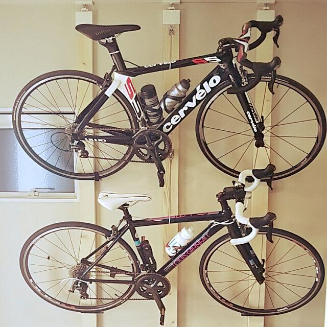 Entrance,新築一軒家,DIY,ジョイフル本田,収納スペース,見せられる収納,見せる収納,自転車,自転車壁掛け,自転車置き場 Yukanの部屋
