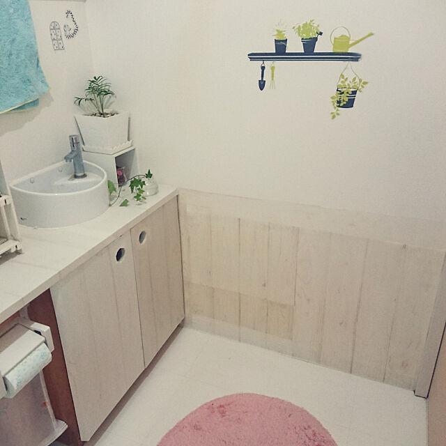 Bathroom,山善すっきりヒーターモニター応募,いいね!ありがとうございます♪,セリアのウォールステッカー,セリアのリメイクシート,ダイソーのグリーン,セリアのタオル mamapapa2の部屋