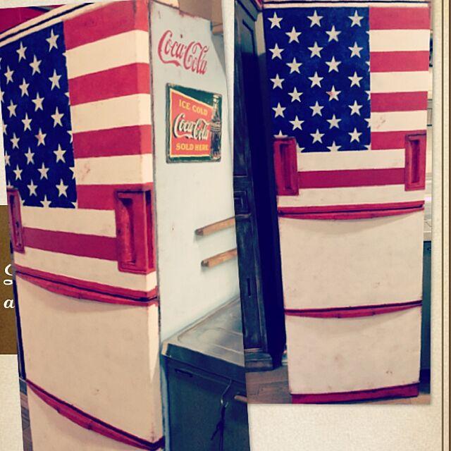 Kitchen,冷蔵庫,冷蔵庫リメイク,錆び錆びペイント,錆び加工,アメリカンヴィンテージ,アメリカ国旗,ペイント,アメリカン,コカコーラ,ステンシル,DIY,アメリカンスタイル,アメリカンポップ 405.mの部屋