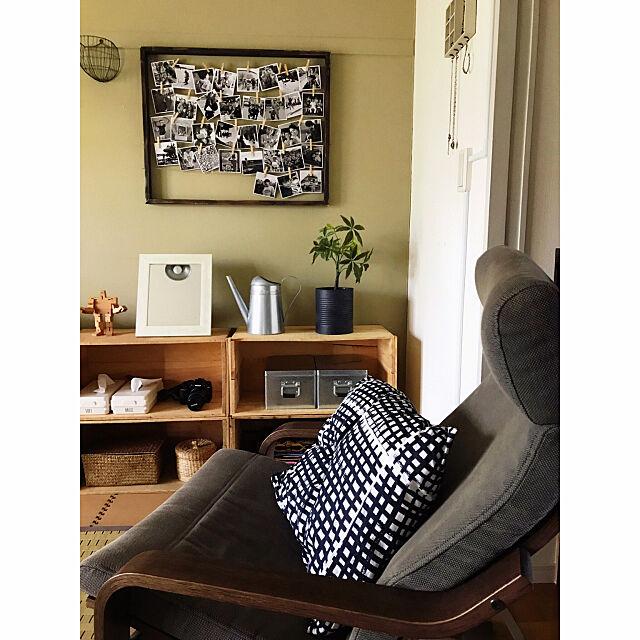 Lounge,IKEA,DIY,家族写真,みせる収納,団地,模様替え,狭小住宅,りんご箱,セリアリメイク,こどもと暮らす。,フォトディスプレイ mokaの部屋