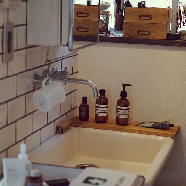 Bathroom,インダストリアル,ハンドメイド,IKEA,ヴィンテージ,ブルックリンスタイル,雑貨,タイル,洗面所,DIY koheyの部屋
