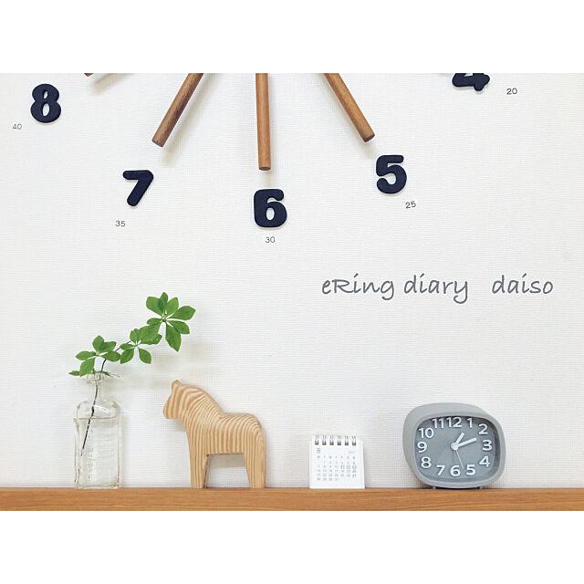 Lounge,時計,雑貨,ダイソー,100均,北欧インテリア,ホワイトインテリア,モノトーンインテリア eRingの部屋