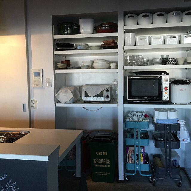 Kitchen,カウンターキッチン,キッチン収納,土間,リノベーション,IKEA,IKEAワゴン,ホームベーカリー,STAUB Makikoの部屋