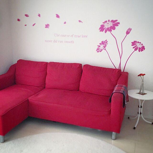 Lounge,White,白,円形ラグ,ラグ,ウォールステッカー,red,赤,ソファ hanaasuの部屋