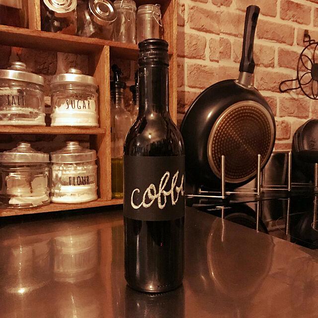 Kitchen,黒板シート,ワインボトル,10分でできる,セリア,雑貨,カフェ風,ナチュラル,レトロ,北欧,アンティーク,DIY,ハンドメイド,100均 Tsuyoshiの部屋