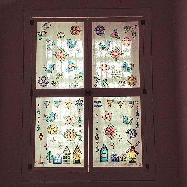 Bathroom,ステンドグラス風ステッカー,リメイク,窓枠,A4フォトフレーム,100均,セリア,アートフレーム,DIY mikittyの部屋
