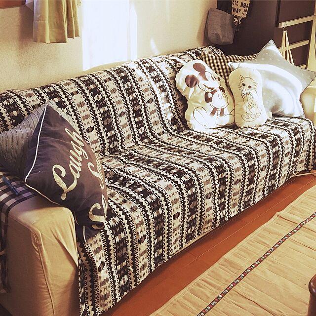 Lounge,しまむら,しまむらのマルチカバー,しまむらクッション,ニトリ,ソファー,salut! chiekawa63の部屋