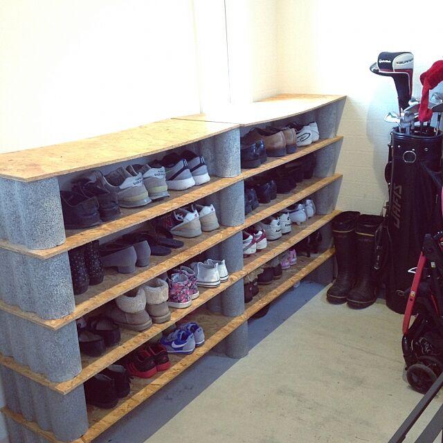 Entrance,靴収納,DIY,靴棚,土間収納,レンガ壁紙,コンクリート打ちっ放し,コンクリート,シューズクローク kary.Yの部屋
