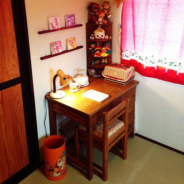 My Desk,裁縫箱,和室,読書,レトロ,昭和レトロ,レトロポップ,手作りカーテン meの部屋