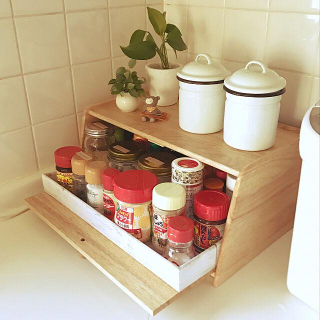 Kitchen,調味料入れ,ニトリ,●●の中,10000人の暮らし,箱の中身,RoomClipMag,ニトリのブレッドケース Unokiの部屋