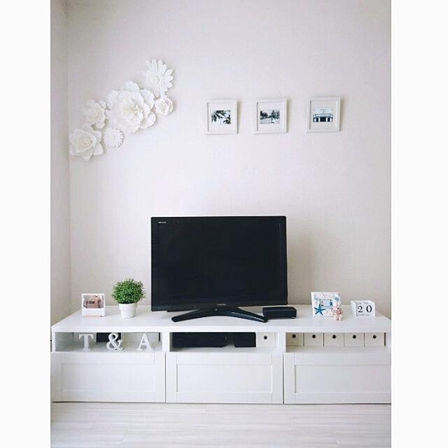 Lounge,IKEAカタログ2019,白黒マニア,IKEA,白黒インテリア,Francfranc,賃貸,白が好き,いいね押し逃げごめんなさい(>_<),シンプル好き,2LDK,フランフラン,シンプル,フェイクグリーン,IKEAテレビボード,IKEAフェイクグリーン,BOSEスピーカー,3COINS,ウォールフラワー,フォトフレーム,クッションフロア,白インテリア,フォローお気軽にしてください♡,ホワイトインテリア ari87の部屋