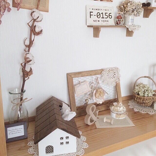 My Shelf,ブリキナンバープレート,セリア,コットンフラワー,salut!,ドライアレンジ h.yの部屋