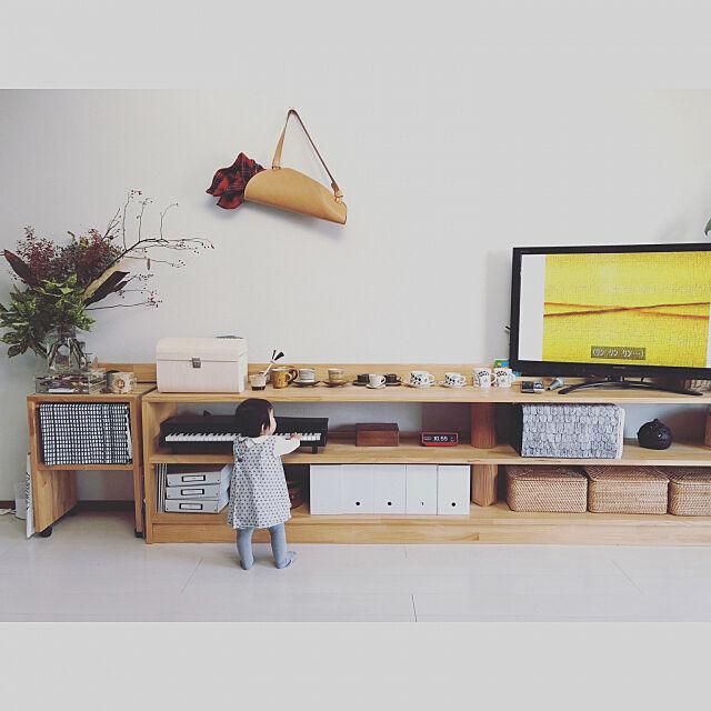 Lounge,こどもと暮らす。,手作り棚,シンプルナチュラル,無印良品 chanの部屋
