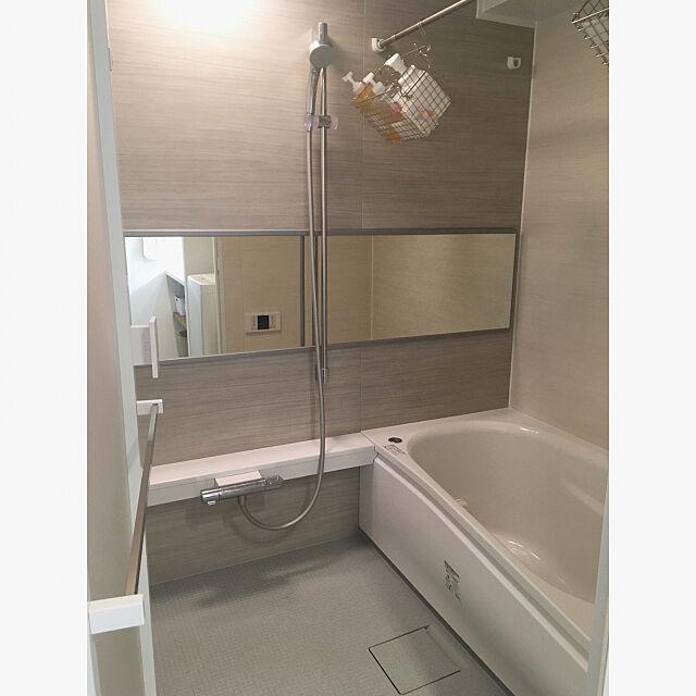 Bathroom,中古マンションリノベーション,三乾王,バスルームの収納,バスルーム,ほっからり床,マンションリモデルバスルーム,TOTOお風呂,TOTO,無印良品,ステンレスワイヤーバスケット Macの部屋