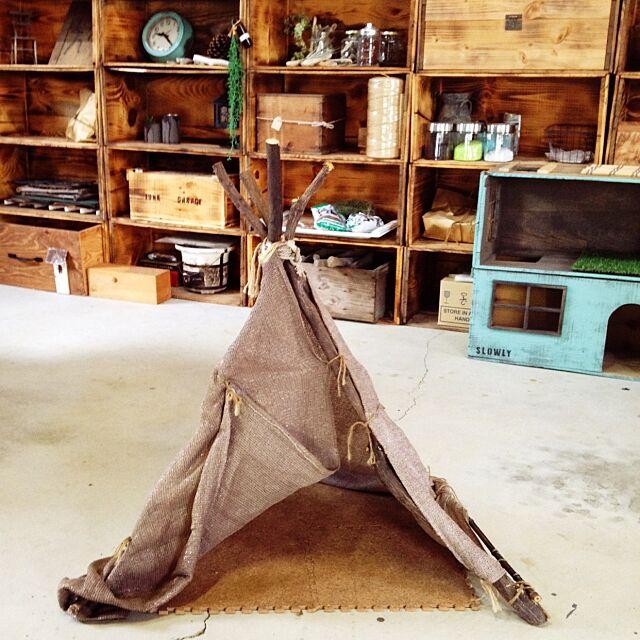My Shelf,猫テント,テント,手作り,ガレージ,Garage,リンゴ箱,ティピ salyuの部屋