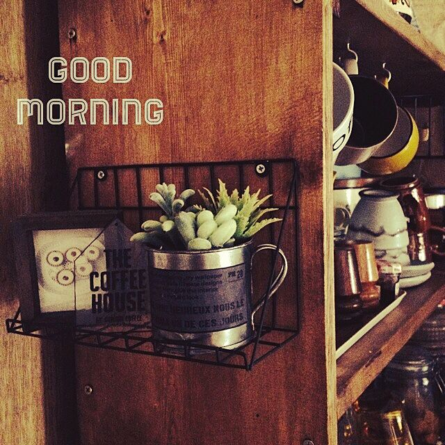 Kitchen,フェイク多肉,ニトリ,食器棚DIY,男前も可愛いも好き kumiの部屋
