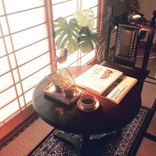 My Desk,こんくりさん。✨,モンステラ,バンカーズライト,ペルシャ絨毯,コンソールテーブル,チャーチチェア,読書,カフェ風,木の家,昭和ポンコツチーム,男前,日本家屋,障子,和室,RURULOVEちゃん♪ mamyuの部屋